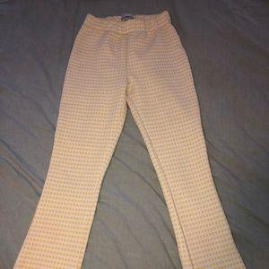 Yellow plaid kick flare pants
